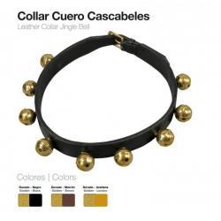 Collar Cuero Cascabeles 4cm